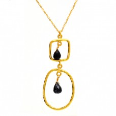 Pear Shape Black Onyx Gemstone 925 Sterling Silver Gold Plated Necklace