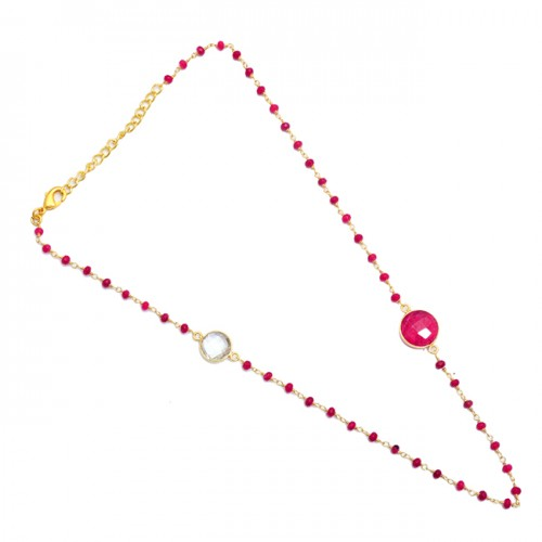 Ruby Green Amethyst Gemstone 925 Silver Gold Plated Beaded Necklace