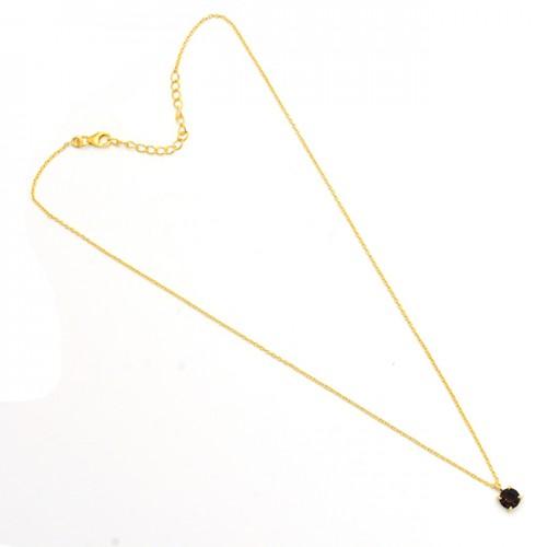 Round Shape Smoky Quartz Gemstone 925 Silver Gold Plated Necklace