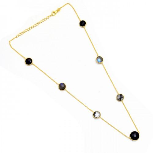 Round Shape Onyx Labradorite Black Rutile Quartz Gemstone Silver Necklace
