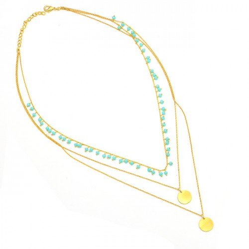 925 Sterling Silver Turquoise Gemstone Gold Plated Beaded Necklace Jewelry