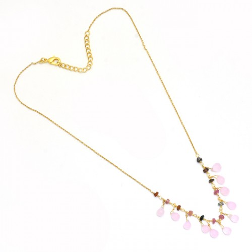 Tourmaline Chalcedony Gemstone 925 Sterling Silver Gold Plated Necklace