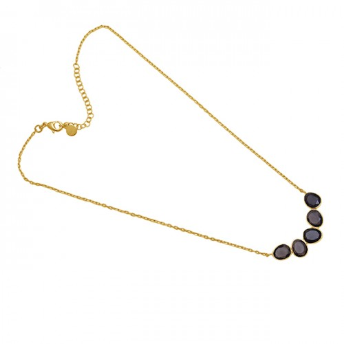 Oval Shape Smoky Quartz Gemstone Necklace 925 Silver Jewelry Necklace