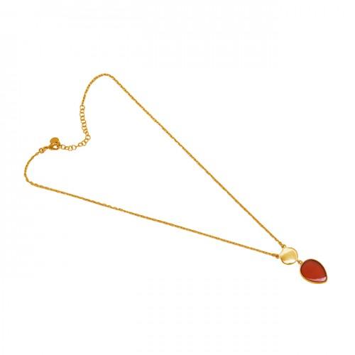 Pear Shape Carnelian Gemstone 925 Sterling Silver Jewelry Necklace