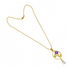 Amethyst Citrine Peridot Blue Topaz Gemstone 925 Sterling Silver Gold Plated Necklace Jewelry