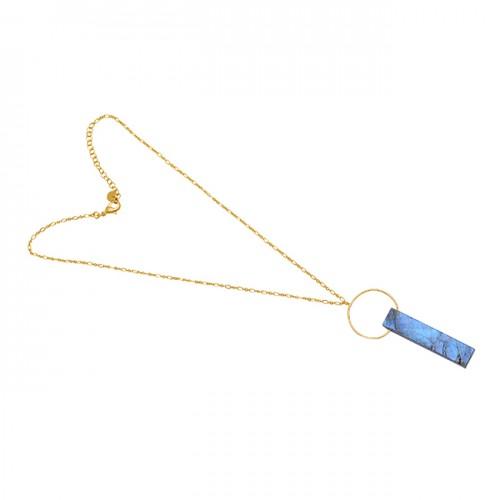 Rectangle Shape Labradorite Gemstone 925 Sterling Silver Jewelry Necklace