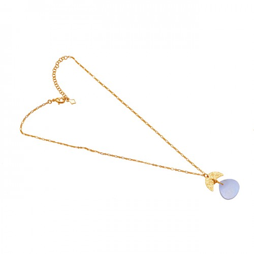 Heart Shape Rainbow Moonstone 925 Silver Jewelry Gold Plated Necklace