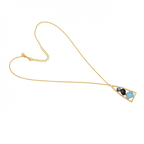925 Sterling Silver Jewelry Gemstone Gold Plated Handmade Chain Necklace