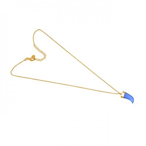 Fancy Shape Blue Chalcedony Gemstone 925 Sterling Silver Jewelry Necklace
