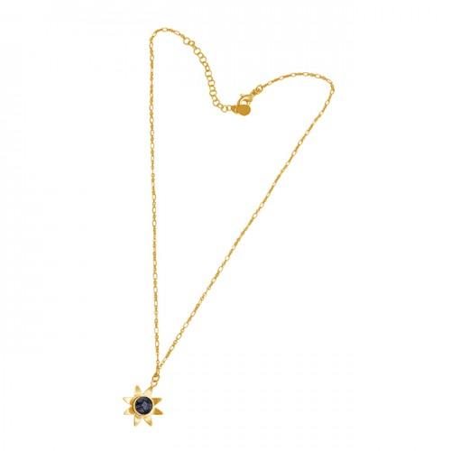 Round Shape Black Rutile Quartz Gemstone 925 Silver Jewelry Necklace