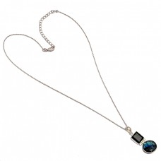 Handmade Labradorite Black Onyx Gemstone 925 Sterling Silver Necklace Jewelry
