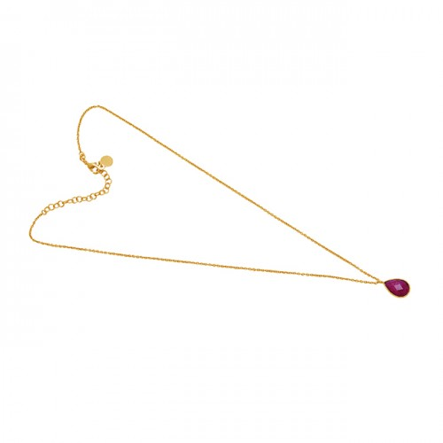 Pear Shape Ruby Gemstone 925 Sterling Silver Jewelry Gold Plated Necklace
