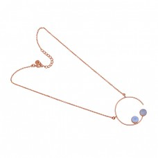 925 Sterling Silver Jewelry Round Shape Moonstone Gold Plated Necklace