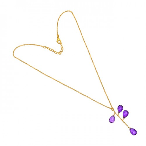 Briolette Pear Amethyst Gemstone 925 Sterling Silver Gold Plated Necklace Jewelry