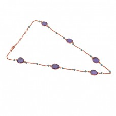 Amethyst Chalcedony Gemstone 925 Sterling Silver Jewelry Necklace