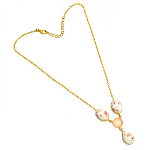 Oval Round Shape Cinnabar Rose Quartz Gemstone 925 Sterling Silver Gold Plated Necklace Jewelry