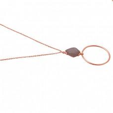 Fancy Shape Peach Moonstone 925 Sterling Silver Jewelry Handmade Necklace