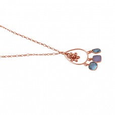 Cushion Shape Blue Topaz Chalcedony 925 Sterling Silver Jewelry Gold Plated Necklace