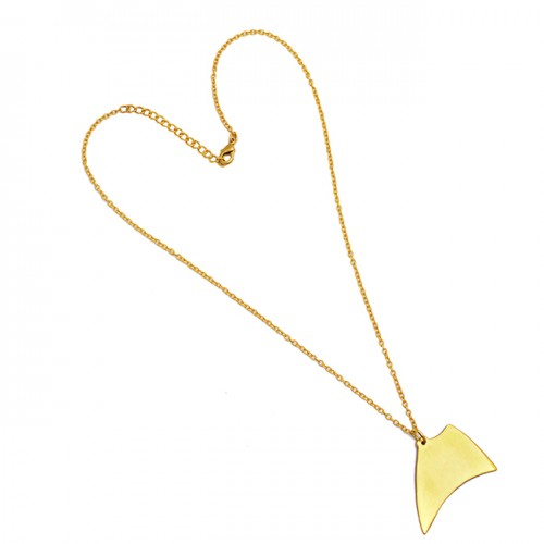Stylish Designer Plain Necklace 925 Sterling Silver Gold Plated Jewelry
