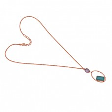 Rectangle Pear Shape  Aqua  Amethyst 925 Sterling Silver Jewelry Gold Plated Necklace
