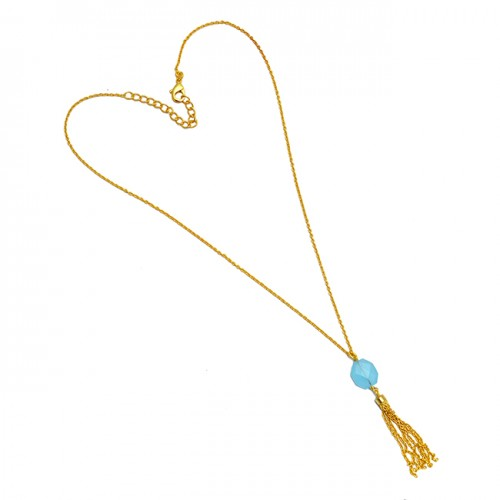 Aqua Color Chalcedony Gemstone 925 Sterling Silver Hanging Chain Gold Plated Necklace Jewelry