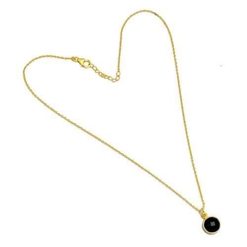 Round Briolette Black Onyx Gemstone 925 Sterling Silver Gold Plated Necklace Jewelry