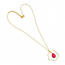 Red Ruby Briolette Oval Gemstone 925 Sterling Silver Gold Plated Necklace Jewelry