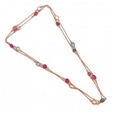 Fancy  Shape Ruby Aquamarine Gemstone 925 Sterling Silver Jewelry Necklace
