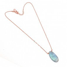 Oval Shape Labradorite Gemstone 925 Sterling Silver Jewelry Necklace
