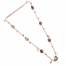 Fancy  Shape Tourmaline Gemstone 925 Sterling Silver Jewelry Necklace