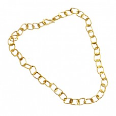925 Sterling Silver Plain Handcrafted Designer Unique Gold Plated Necklace Jewelry