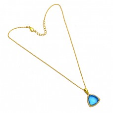 Triangle Shape Blue Topaz Gemstone 925 Sterling Silver Gold Plated Necklace Jewelry