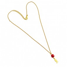 Flower Shape Ruby Gemstone 925 Sterling Silver Gold Plated Chain Necklace Jewelry