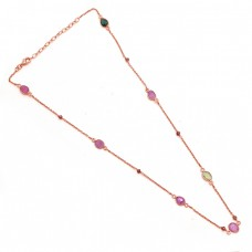 Fancy Round Shape  Tourmaline 925 Sterling Silver Jewelry Gold Plated Necklace