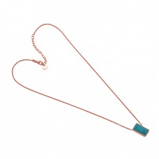 Rectangle Shape Turquoise 925 Sterling Silver Jewelry Gold Plated Necklace