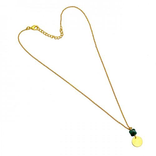 Emerald Flower Shape Gemstone 925 Sterling Silver Gold Plated Handmade Necklace