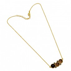 Smoky Black Onyx Round Shape Gemstone 925 Sterling Silver Gold Plated Necklace