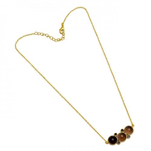 Smoky Black Onyx Round Shape Gemstone 925 Sterling Silver Gold Plated Necklace