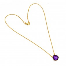 Heart Shape Purple Amethyst Gemstone 925 Sterling Silver Gold Plated Necklace Jewelry