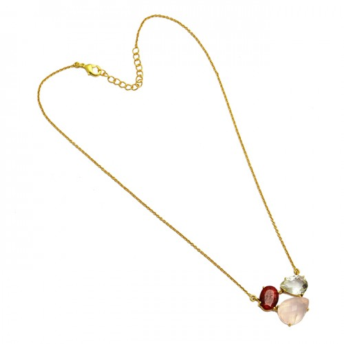 Rose Quartz Ruby Crystal Gemstone 925 Sterling Silver Gold Plated Necklace Jewelry
