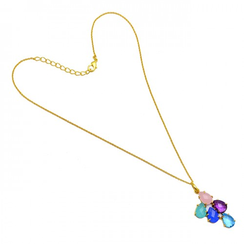 925 Sterling Silver Pear Shape Multi Color Gemstone Prong Setting Gold Plated Necklace