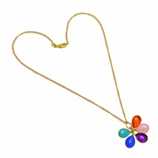 Faceted Pear Drops Shape Multi Color Gemstone 925 Sterling Silver Gold Plated Necklace