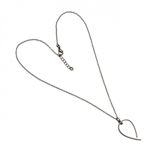 925 Sterling Silver Plain Handcrafted Designer Black Rhodium Necklace Jewelry