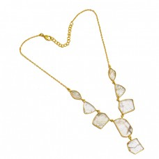 925 Sterling Silver Golden Rutile Fancy Shape Gemstone Gold Plated Designer Necklace