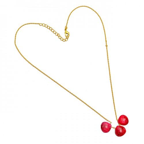 Briolettte Heart Shape Ruby Gemstone 925 Sterling Silver Gold Plated Designer Necklace