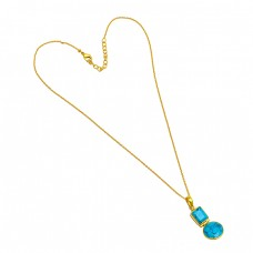 Blue Turquoise Octagon Round Shape Gemstone 925 Sterling Silver Gold Plated Necklace