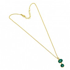 Green Onyx Round Oval Shape Gemstone 925 Sterling Silver Gold Plated Necklace