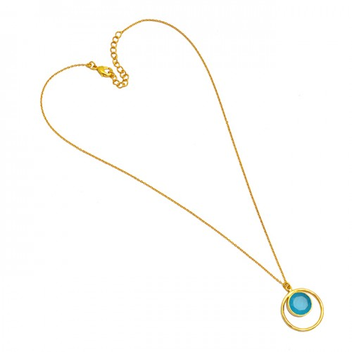 Blue Chalcedony Round Shape Gemstone 925 Sterling Silver Gold Plated Necklace