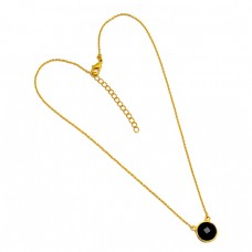 Round Shape Black Onyx Gemstone 925 Sterling Silver Gold Plated Handmade Necklace