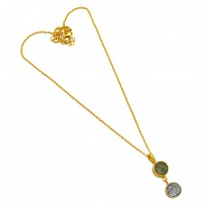 Round Shape Labradorite Gemstone 925 Sterling Silver Gold Plated Necklace Jewelry